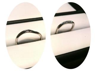 【ガラOKACHIMACHIの口コミ】 女性側のリングには大粒のダイヤが5石埋め込まれており、その輝きが他のリ…
