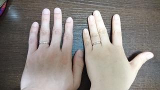 【PePe(ペペ)の口コミ】 素材がPt950とK18ピンクゴールドの両方で、つけてみたら二人の手に似合っ…