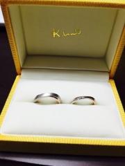 【ケイウノ ブライダル(K.UNO BRIDAL)の口コミ】 指が太くてゴツゴツしてる方なので、指が細く見えるように、リングも細めで…