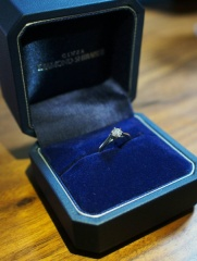 【銀座ダイヤモンドシライシの口コミ】 シンプルで綺麗なデザインが気に入りました。 手を繋いでいる様子をデザイ…