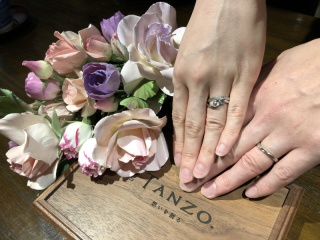【TANZO(タンゾウ)の口コミ】 婚約指輪に引き続きてのオーダーメード作成です。婚約指輪と一緒に着用し…