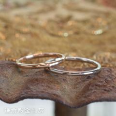 【鎌倉彫金工房(かまくらちょうきんこうぼう)】【ふたりでつくる結婚指輪】メンズPt900&レディースK18PG(クリア仕上げ)