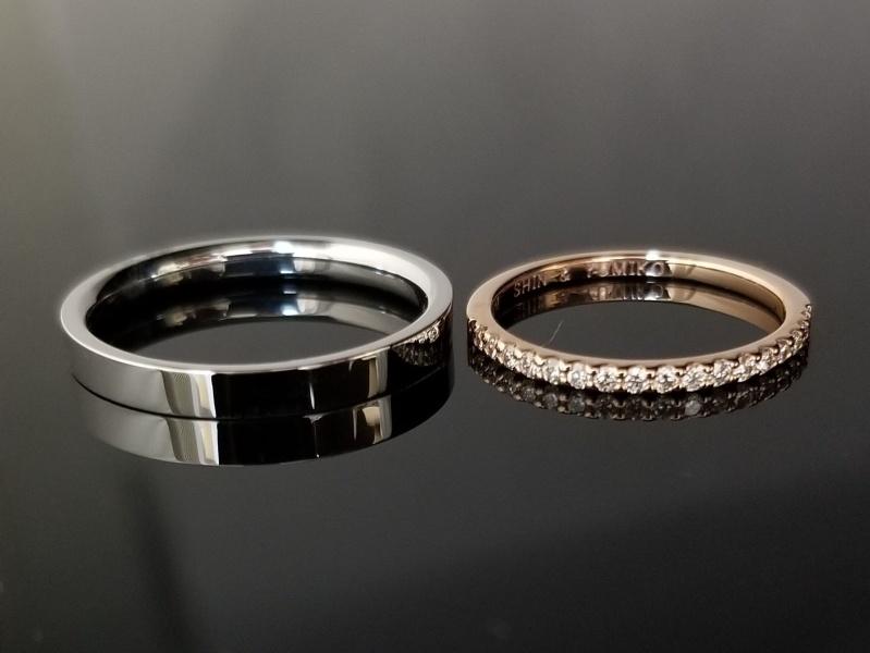 【TANZO(タンゾウ)】平打ちとハーフエタニティーが素敵な結婚指輪