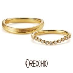 【ORECCHIO(オレッキオ)】<Siena>ダイヤモンドを包み込むミル打ちと緩やかなカーブが愛らしい結婚指輪