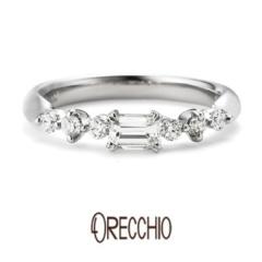 【ORECCHIO(オレッキオ)】<pipi>婚約指輪 四角ダイアと丸いダイアのミックスが女性らしいキュートな指輪