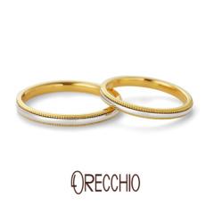 【ORECCHIO(オレッキオ)】テヌート~tenuto 細身のアームに異素材でミルグレインを施したシンプルな結婚指輪