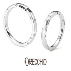 【ORECCHIO(オレッキオ)】<monaco> 指輪の側面にダイヤモンドを散りばめたスタイリッシュな結婚指輪