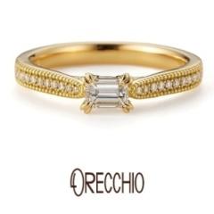 【ORECCHIO(オレッキオ)】フランキンセンス~サイドのメレダイヤとミル打ちが華やかな印象の婚約指輪