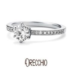【ORECCHIO(オレッキオ)】<pipi>婚約指輪 細いアームにメレダイヤを並べてシンプルなデザインも華やかに