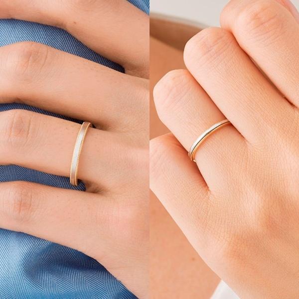 【ORECCHIO(オレッキオ)】テヌート~tenuto 細身のアームに異素材でミルグレインを施したシンプルな結婚指