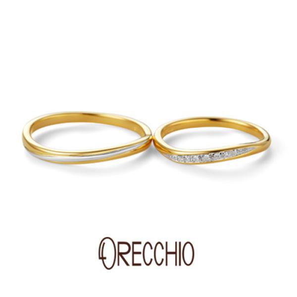 【ORECCHIO(オレッキオ)】ヴィヴァーチェ~vivace 緩やかなゴールド×プラチナの曲線がエレガントな結婚指輪