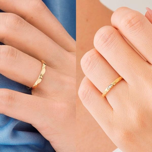 【ORECCHIO(オレッキオ)】ゼラニウム~ マーキス型のブロックが連なった動きのある軽やかな結婚指輪