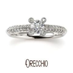 【ORECCHIO(オレッキオ)】<monaco>爪のダイヤとミル打ち、パヴェのダイヤで拘りぬいたデザインの指輪