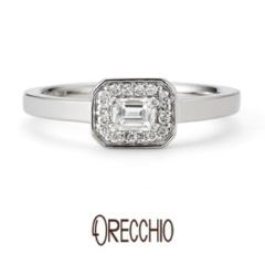 【ORECCHIO(オレッキオ)】<Siena> 全体のフォルムがエメラルドカットにデザインされた遊び心ある指輪