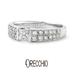 【ORECCHIO(オレッキオ)】<monaco> シンプルなデザインにプリンセスカット×メレダイヤでエレガントに