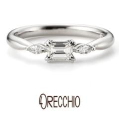 【ORECCHIO(オレッキオ)】ジャスミン~エメラルドカットダイヤ×マーキスダイヤで他にはないデザイン