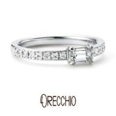 【ORECCHIO(オレッキオ)】<Siena>エメラルドカットダイヤの透明な輝き×メレダイヤの煌びやかな輝き