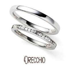 【ORECCHIO(オレッキオ)】siena 四角いダイア×丸いダイアをセッティングしたエタニティタイプの結婚指輪