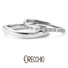 【ORECCHIO(オレッキオ)】<siena>流れるようにカーブを描くデザインに四角いダイヤが並ぶエタニティー