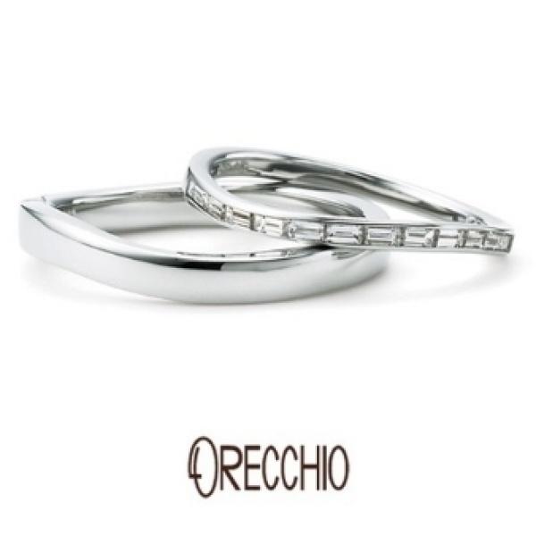 【ORECCHIO(オレッキオ)】<siena~シエナ>SM-2109/SM-2110 流れるようにカーブを描くデザインに四角いダイヤが並ぶエタニティー