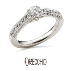 【ORECCHIO(オレッキオ)】<monaco> 指輪全体に散りばめられたダイヤがエレガントな婚約指輪
