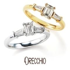 【ORECCHIO(オレッキオ)】<siena>エメラルドカットダイヤ×テーパードカットダイヤのシャープな婚約指輪
