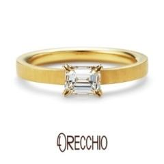 【ORECCHIO(オレッキオ)】<aman>婚約指輪 エメラルドカットダイヤが映えるオレッキオの代表作