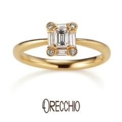 【ORECCHIO(オレッキオ)】<Siena>婚約指輪 エメラルドカットダイヤを形の違うダイヤが囲む個性的な指輪