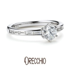 【ORECCHIO(オレッキオ)】<aman>ラウンドブリリアント×バゲットカットダイヤ二つの輝きが美しい婚約指輪
