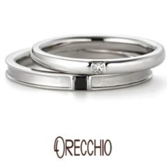 【ORECCHIO(オレッキオ)】グラッツィア~シンプルなデザインにプリンセスカットのダイヤが美しい結婚指輪