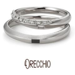 【ORECCHIO(オレッキオ)】サンダルウッド~緩やかな曲線にダイヤモンドや仕上げでアクセントを付けた結婚指輪