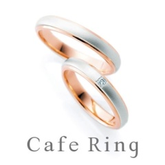 【Cafe Ring(カフェリング)】【アプリコット】プラチナ×ピンクゴールドのコンビデザイン