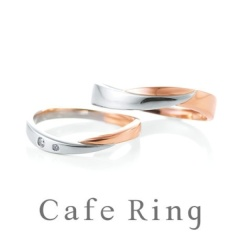 【Cafe Ring(カフェリング)】【クレセント】プラチナ・ゴールドのコンビが美しいリング
