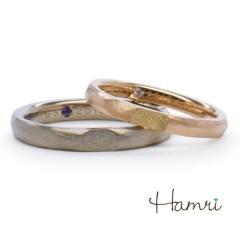 【Hamri(ハムリ)】【手作り結婚指輪】溶けたロウに指紋押しリング Shota&Maiko様
