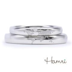 【Hamri(ハムリ)】【手作り結婚指輪】ヨーロッパ中心の世界地図リング Eiji&Asami様