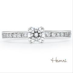 【Hamri(ハムリ)】【手作り婚約指輪】大粒ダイヤと、レールのリング