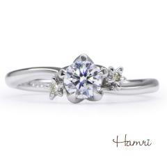 【Hamri(ハムリ)】【手作り婚約指輪】スミレのモチーフがかわいいキュートなリング