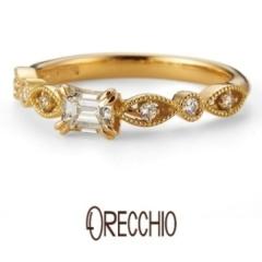【BIJOUPIKO(ビジュピコ)】ゼラニウム~ マーキス型と丸型を交互に配置した花びらのような可憐な婚約指輪