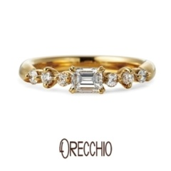【BIJOUPIKO(ビジュピコ)】<pipi>婚約指輪 四角ダイアと丸いダイアのミックスが女性らしいキュートな指輪