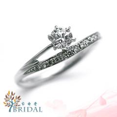 【宝寿堂(ほうじゅどう)】【宝寿堂】繊細なアームの上に伸びた一粒ダイヤがエレガント《HD2473》