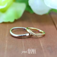 【Jewel HAMA(ジュエルはま)】【二人で作る結婚指輪】メンズPt900/レディースK18YG