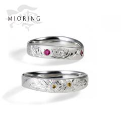【MIORING(ミオリング)】MIORING 匠花Ⅱ 薔薇・向日葵 -しょうかに ばら・ひまわり- 和彫りと和紙が祝福する結婚指輪