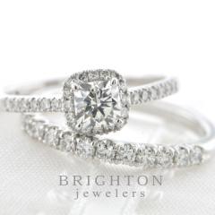 【BRIGHTON jewelers(ブライトンジュエラーズ)】 PT cushion diamond ring [クッションカットダイヤモンドリング]