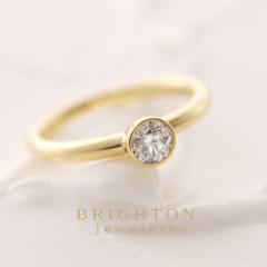 【BRIGHTON jewelers(ブライトンジュエラーズ)】K18 Round Diamond Ring[ゴールドラウンドダイアモンドリング]
