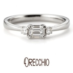 【garden(ガーデン)】タイム~両サイドのメレダイヤと中央に向けて絞られたデザインがシンプルな結婚指輪