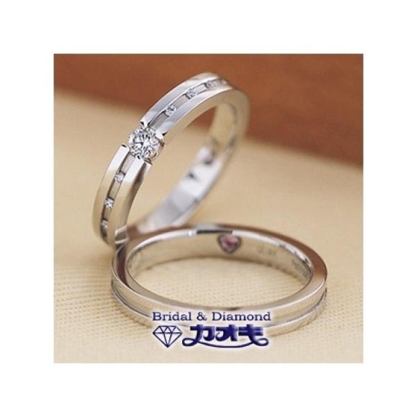 【カオキ ダイヤモンド専門卸直営店】しっかりと入ったストレートラインが魅力のリング【プチレーヴA】
