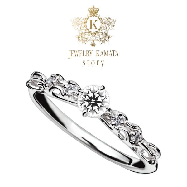 【JEWELRY  KAMATA(ジュエリーかまた)】女子力アップ!ダイヤを包むリボンのようなキュートな婚約指輪