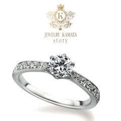 【JEWELRY  KAMATA(ジュエリーかまた)】キラキラ度アップ!アームまでダイヤをギッシリ並べた婚約指輪