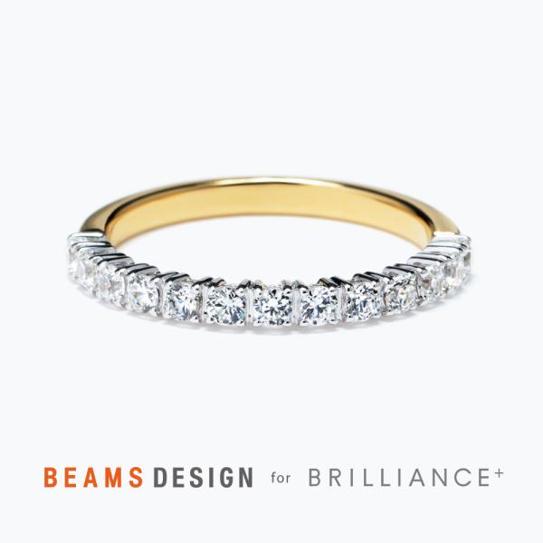 【BRILLIANCE+(ブリリアンスプラス)】★BEAMS DESIGN★プロング ダイヤモンド ハーフエタニティ コンビネーション リング