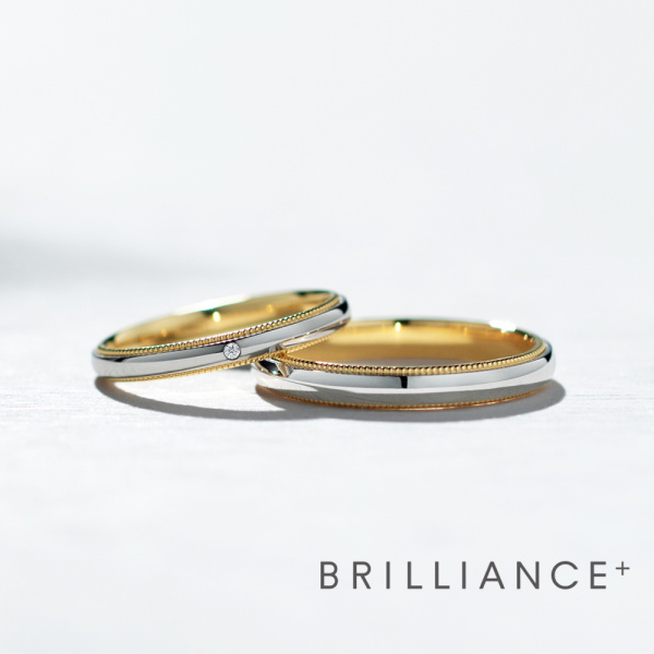 【BRILLIANCE+(ブリリアンスプラス)】★NEW★PT950/K18YG コンビネーションリング  ミルグレイン